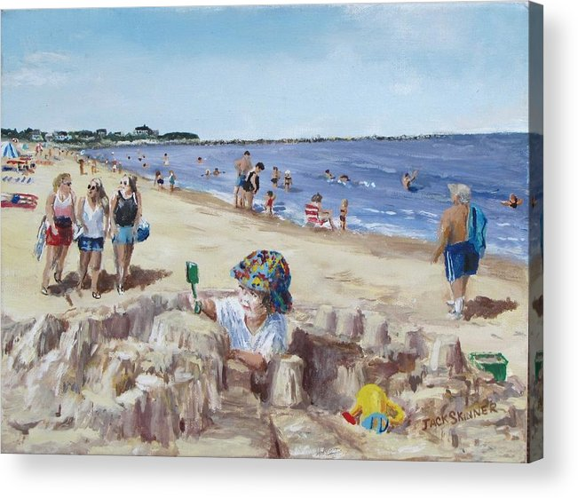 Beach Acrylic Print featuring the painting From Sandcastles To College by Jack Skinner