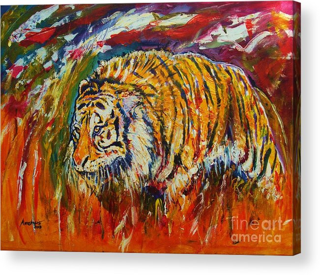 Tiger Acrylic Print featuring the painting Go Get Them Tiger by Anastasis Anastasi
