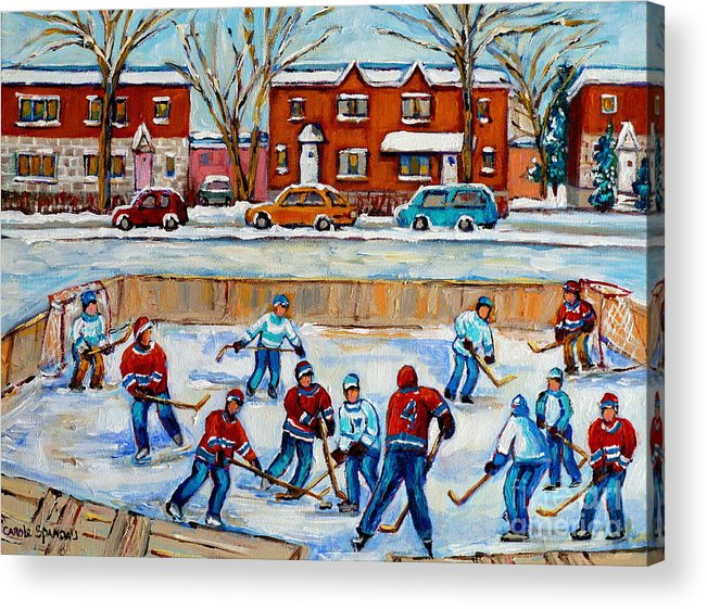 Hockey At Van Horne Montreal Acrylic Print featuring the painting Hockey Rink At Van Horne Montreal by Carole Spandau