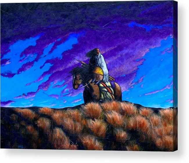 American Indian Acrylic Print featuring the painting In Search Of The Vanished by Joe Triano