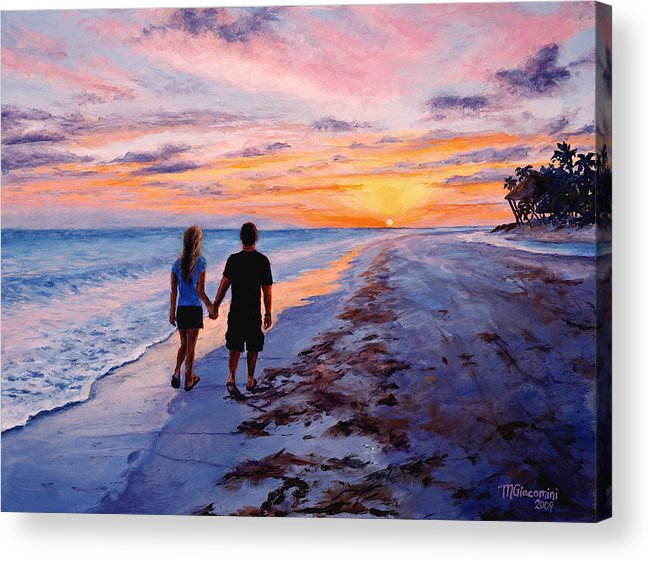 Beach Acrylic Print featuring the painting Into The Sunset by Mary Giacomini