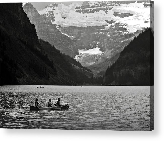 Lake Louise Acrylic Print featuring the photograph Kayak On Lake Louise by RicardMN Photography