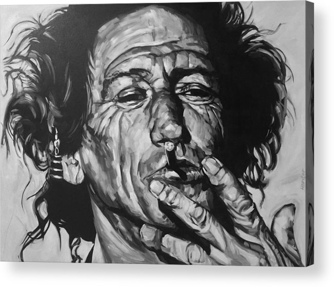 Keith Richards Guitarist Musician Rolling Stones Mick Jagger Black And White Canvas Portrait 60's Acrylic Print featuring the drawing Keith Richards by Steve Hunter