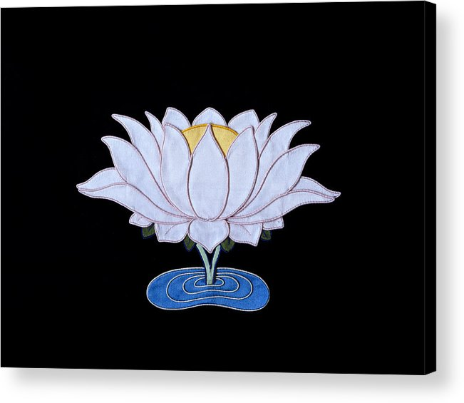 Lotusflower Acrylic Print featuring the tapestry - textile Lotus by Leslie Rinchen-Wongmo