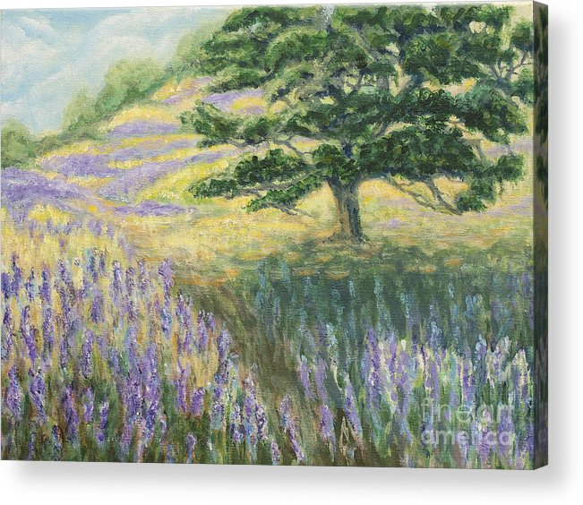 Lupines Acrylic Print featuring the painting Lupines In May by Jeanne Wrede