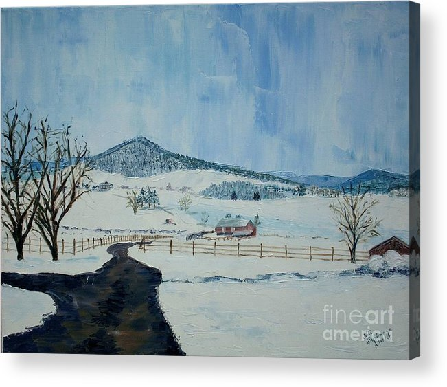 Mole Hill; Snow; Dark Driveway In Foreground Acrylic Print featuring the painting March Snow On Mole Hill - Sold by Judith Espinoza