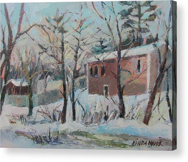 Massachusetts Acrylic Print featuring the painting Massachusetts Snowfall by Linda Novick