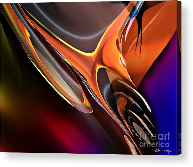 Animals Acrylic Print featuring the painting Metal And Fire Bird by Christian Simonian