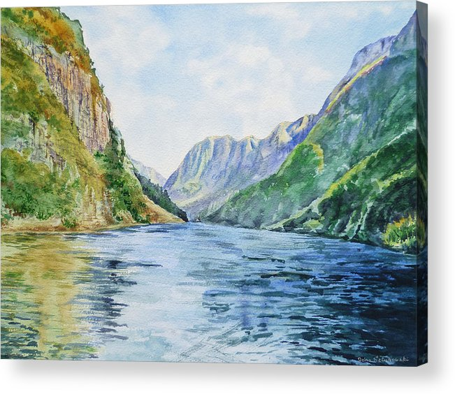 Norway Acrylic Print featuring the painting Norway Fjord by Irina Sztukowski