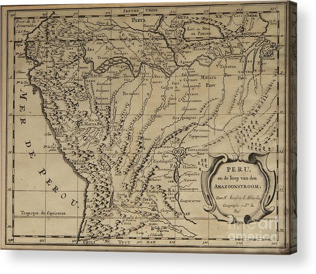 Old World Map Of Peru Acrylic Print By Inspired Nature Photography