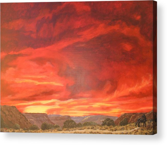Western Acrylic Print featuring the painting One Last Look by Janis Mock-Jones