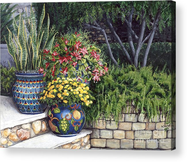 Floral Acrylic Print featuring the painting Painted Pots by Mary Palmer