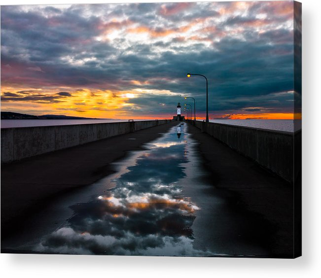 pathway To The Sun after The Rains lake Superior Sunrise reflection sunrise canal Park canal Park Lighthouse Duluth dawn On Lake Superior dawn In Canal Park wow pure Magic!greeting Cardslandscape Greeting Cards nature Greeting Cards Acrylic Print featuring the photograph Pathway To The Sun by Mary Amerman