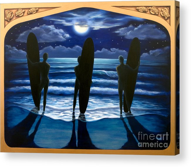 Surfing Acrylic Print featuring the painting Phosphorus Nights by Teri Tompkins