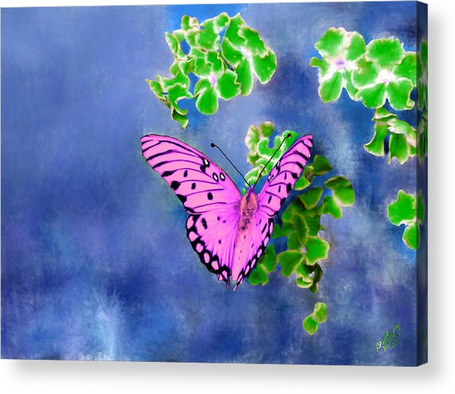 Green Acrylic Print featuring the painting Pink Butterfly by Bruce Nutting