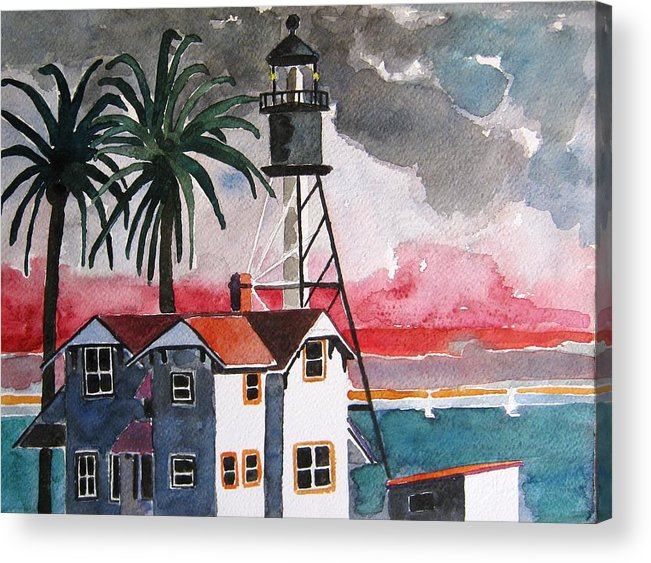 Point Loma Acrylic Print featuring the painting Point Loma California by Lesley Giles