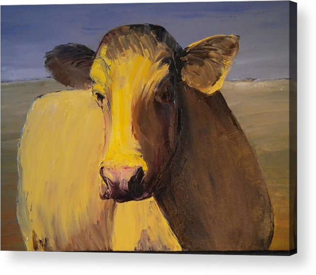 Cow Acrylic Print featuring the painting Portrait Of A Cow by Carolyn Doe