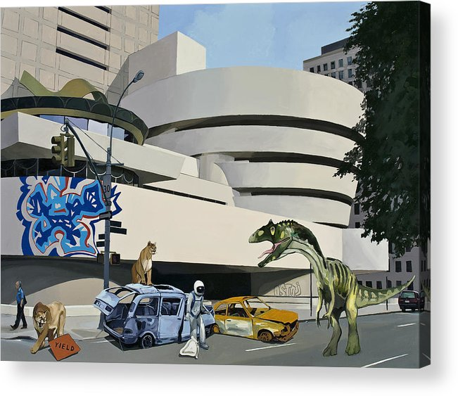 Astronaut Acrylic Print featuring the painting Post Nuclear Guggenheim Visit by Scott Listfield