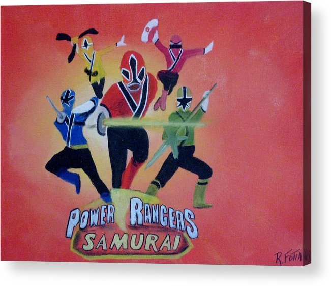 Power Rangers Samurai Acrylic Print featuring the painting Power Rangers Samurai by Rich Fotia