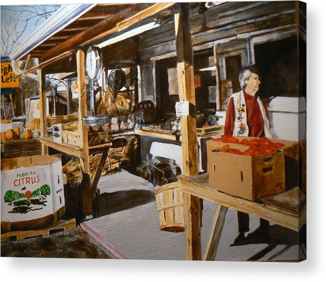 Rural Life Acrylic Print featuring the painting Produce Market by Thomas Akers