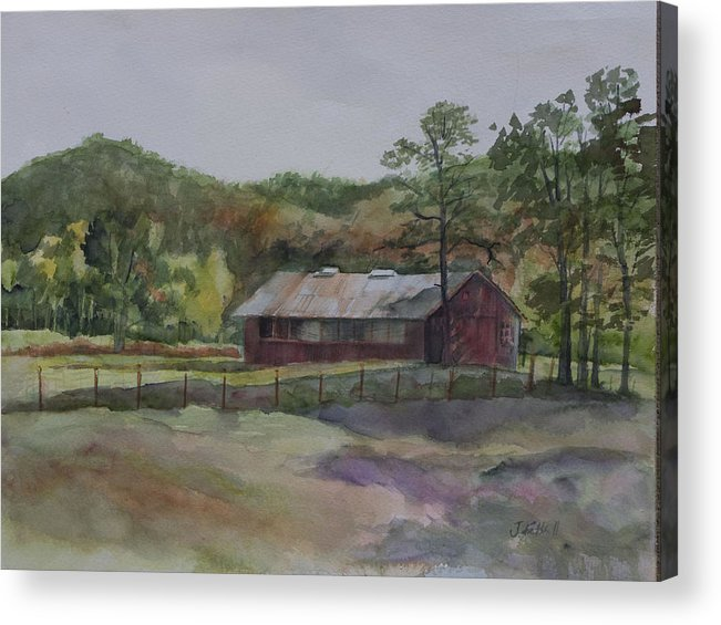 Red Barn Acrylic Print featuring the painting Red Barn by Janet Felts