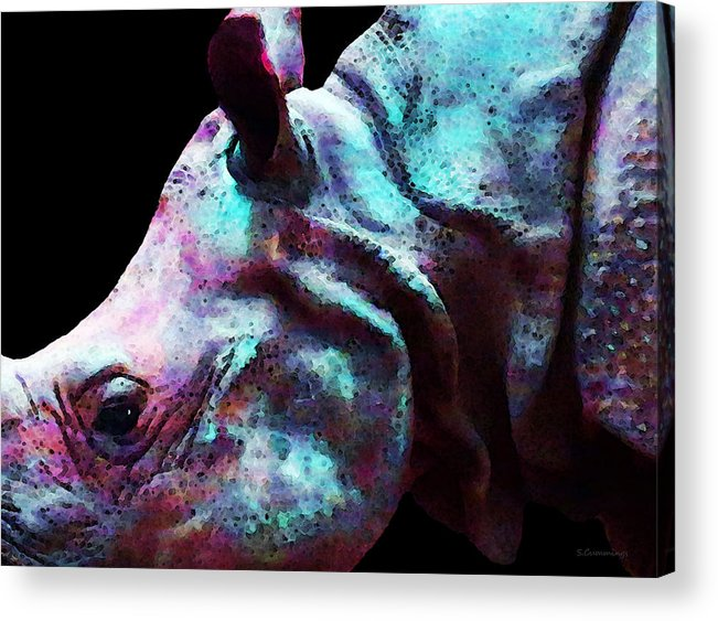 Rhinoceros Acrylic Print featuring the painting Rhino 1 - Rhinoceros Art Prints by Sharon Cummings