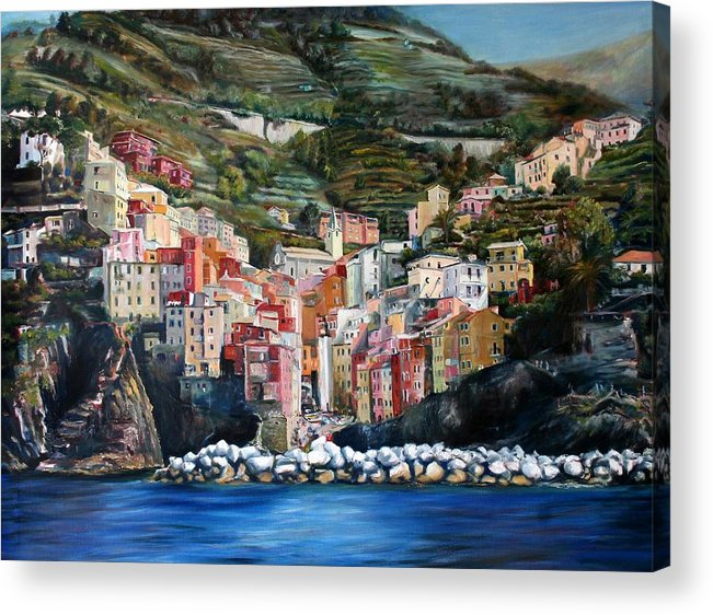 Cinque Terre Acrylic Print featuring the painting Riomaggiore Glory- Cinque Terre by Jennifer Lycke