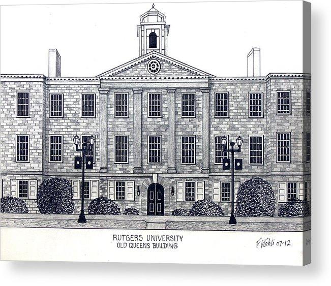 Rutgers University Drawing Acrylic Print featuring the drawing Rutgers University by Frederic Kohli