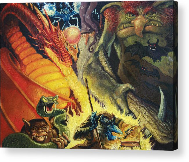 Monsters Acrylic Print featuring the painting Scary Things by Gregg Hinlicky