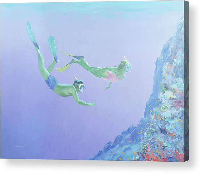 Snorkler Acrylic Print featuring the painting Snorklers by William Ireland