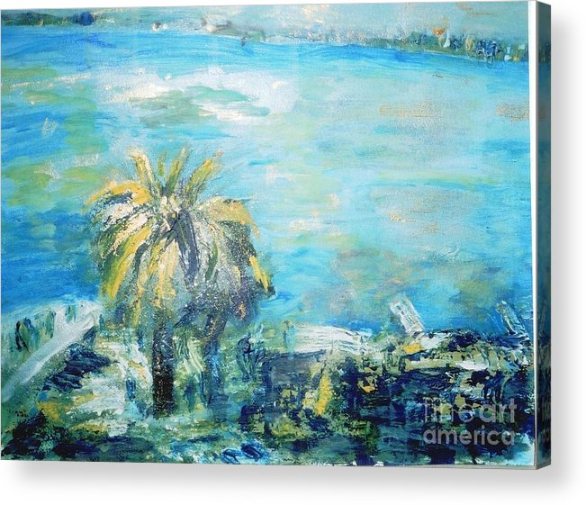 Seascape Acrylic Print featuring the painting South Of France  Juan Les Pins by Fereshteh Stoecklein