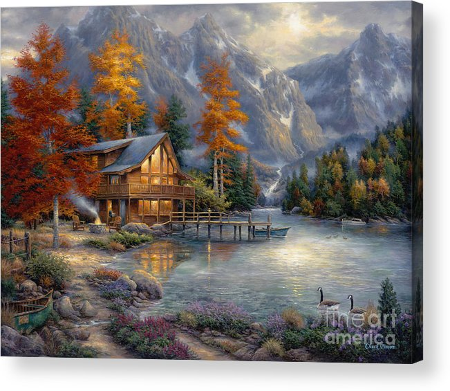 Mountain Cabin Acrylic Print featuring the painting Space For Reflection by Chuck Pinson
