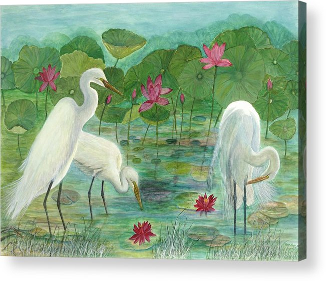 Lily Pads; Egrets; Low Country Acrylic Print featuring the painting Summer Trilogy by Ben Kiger