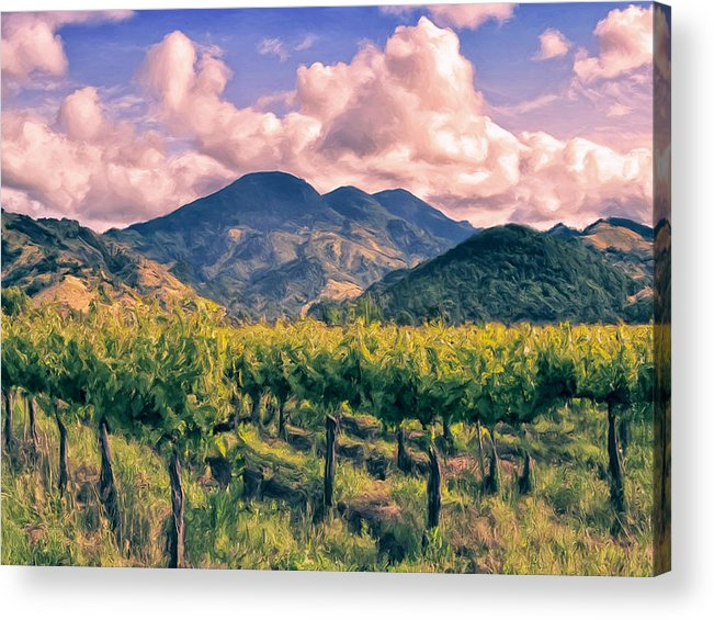 Napa Acrylic Print featuring the painting Sunset In Napa Valley by Dominic Piperata