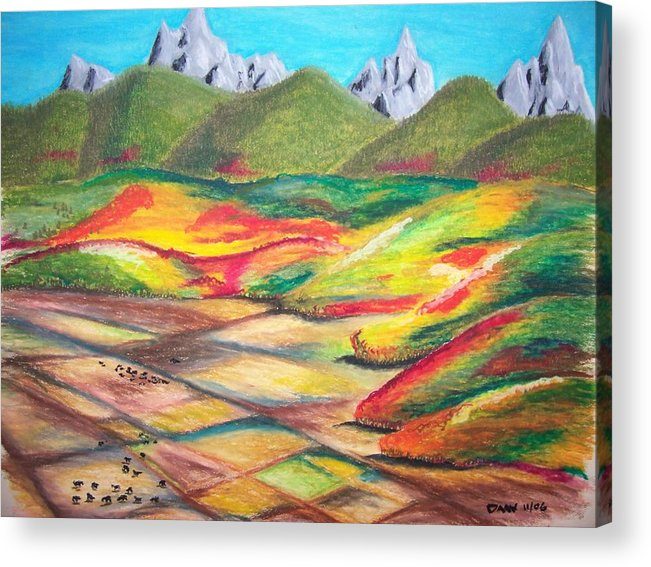 Valley Acrylic Print featuring the drawing Tetonia Autumn by Daav Corbet