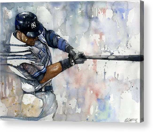 Derek Jeter Acrylic Print featuring the painting The Captain Derek Jeter by Michael Pattison
