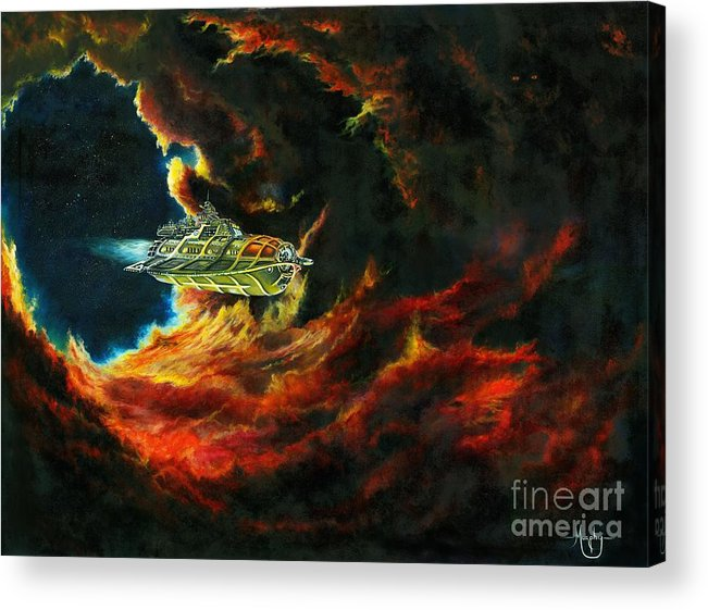 Devil Acrylic Print featuring the painting The Devil's Lair by Murphy Elliott