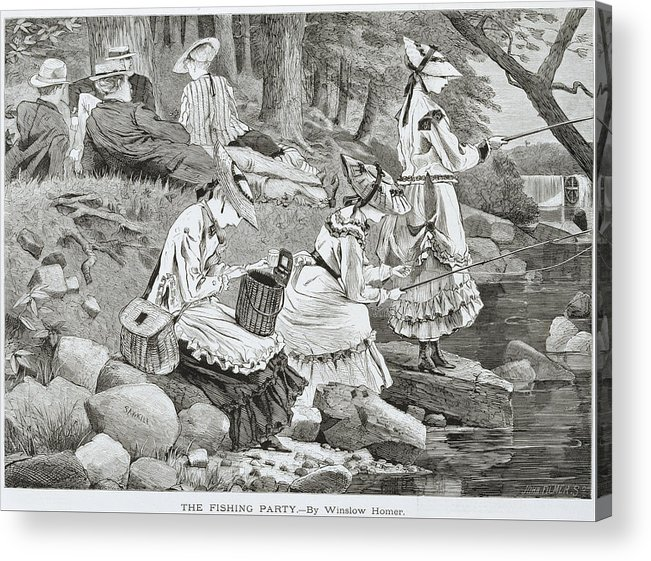 The Fishing Party Acrylic Print featuring the painting The Fishing Party by Winslow Homer