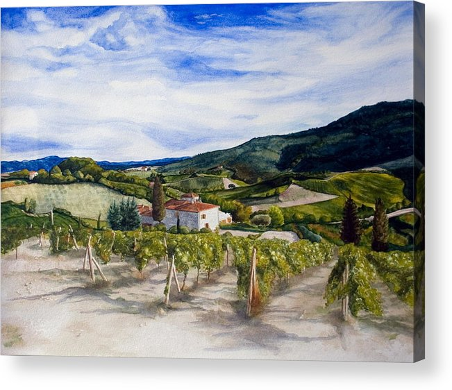 Landscape Acrylic Print featuring the painting The Hills Of Tuscany by Monika Degan