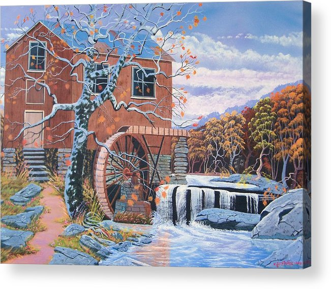 Old Water Mill Acrylic Print featuring the painting The Jamestown Mill by Seth Wade