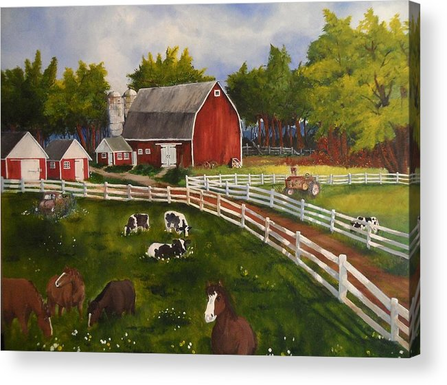 Barn Acrylic Print featuring the painting The Old Farm by Tim Loughner