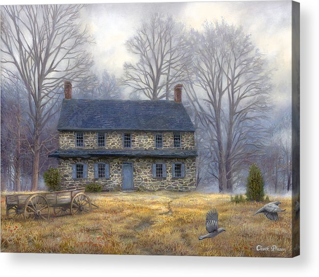 Colonial Acrylic Print featuring the painting The Old Farmhouse by Chuck Pinson
