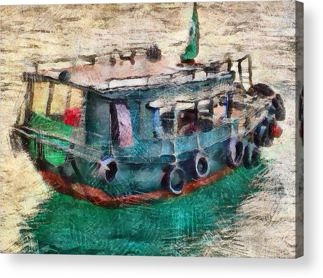 Water Acrylic Print featuring the digital art The Pulling Boat by Yury Malkov