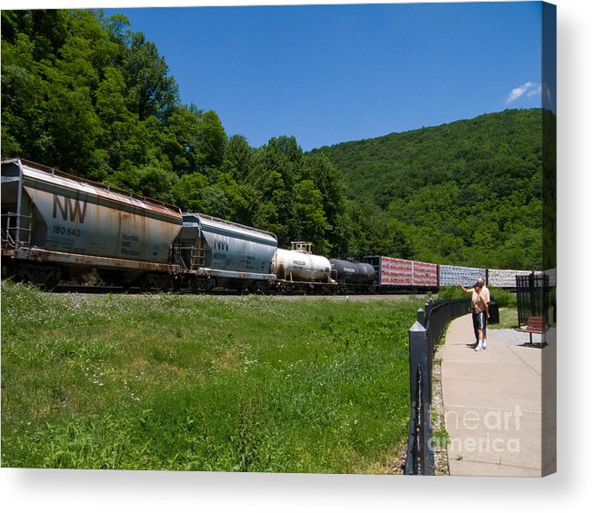 Allegheny Mountains Acrylic Print featuring the photograph Train Watching At The Horseshoe Curve Altoona Pennsylvania by Amy Cicconi