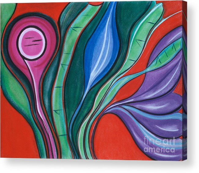 Oragne Acrylic Print featuring the pastel Unfolding by Birgit Seeger-Brooks
