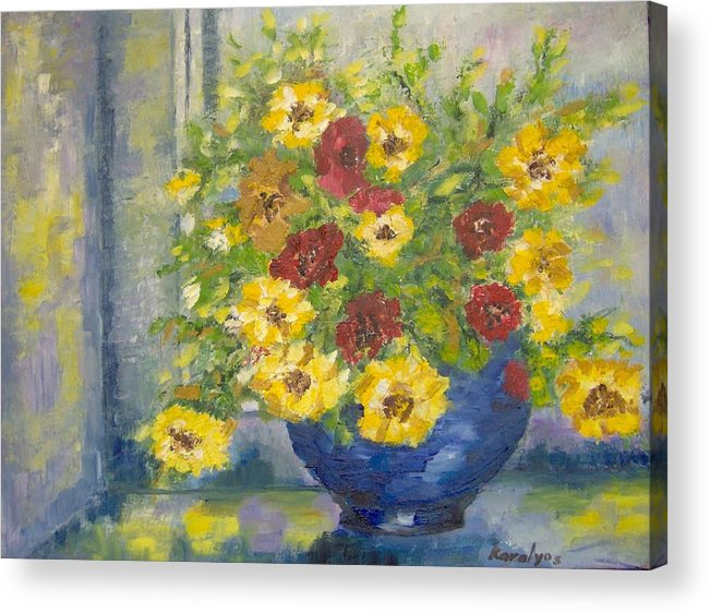 Vase Acrylic Print featuring the painting Vase With Yellow Flowers by Maria Karalyos
