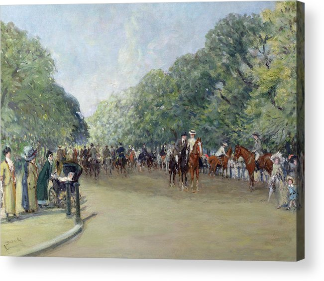 C19th Acrylic Print featuring the painting View Of Hyde Park With Figures On Rotten Row by Albert Jnr Ludovici