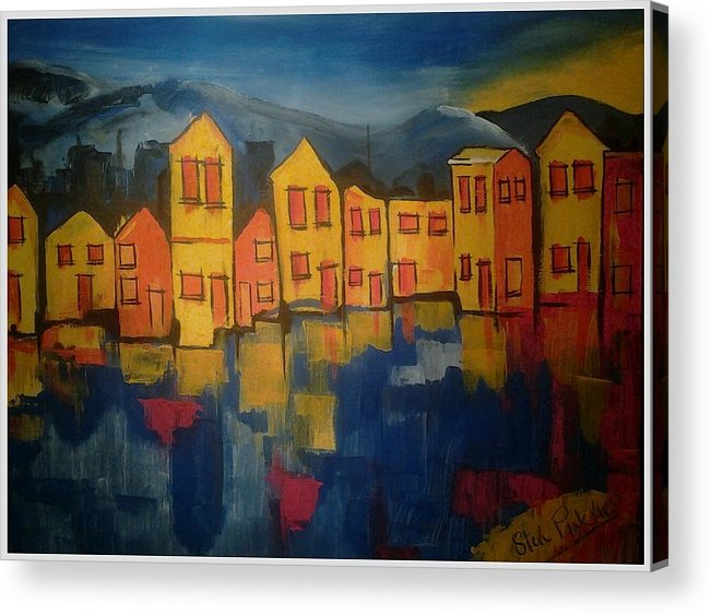 Cornwall Seaside Village Cornish Acrylic Contempary Landscape Modern Bude England Acrylic Print featuring the painting Village by Steve Pinchess