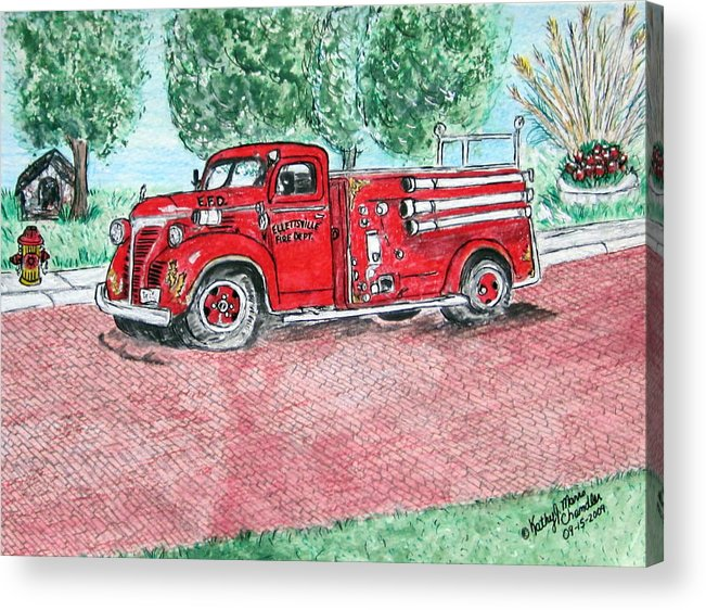 Firetruck Acrylic Print featuring the painting Vintage Firetruck by Kathy Marrs Chandler