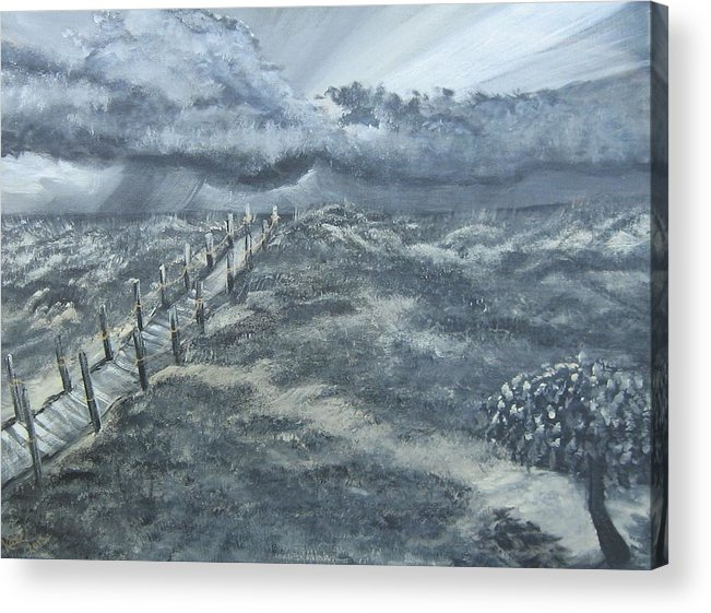 Storm Rolling Up While The Normal Things Like The Tree Acrylic Print featuring the painting Waiting Out The Storm by Katie Adkins